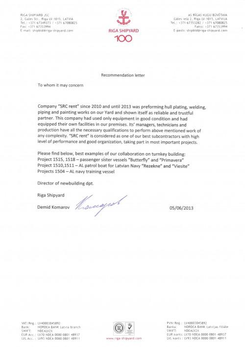 "Recommendation Letter ""Riga Shipyard"""